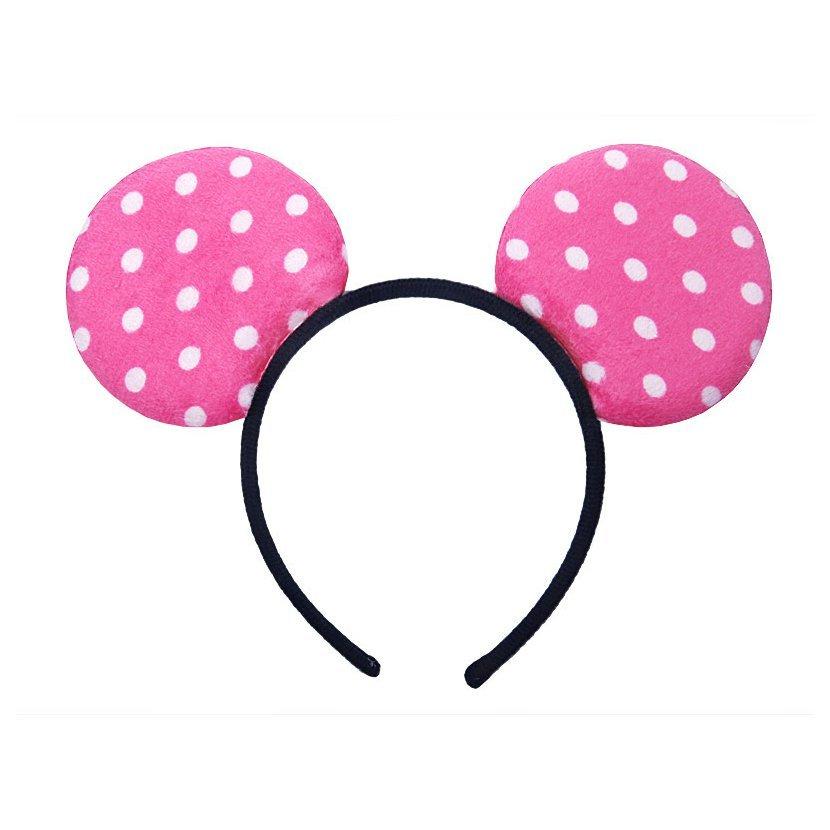 Čelenka s ušima a puntíky SVĚTLE RŮŽOVÁ - Obr. 1 783158cf70